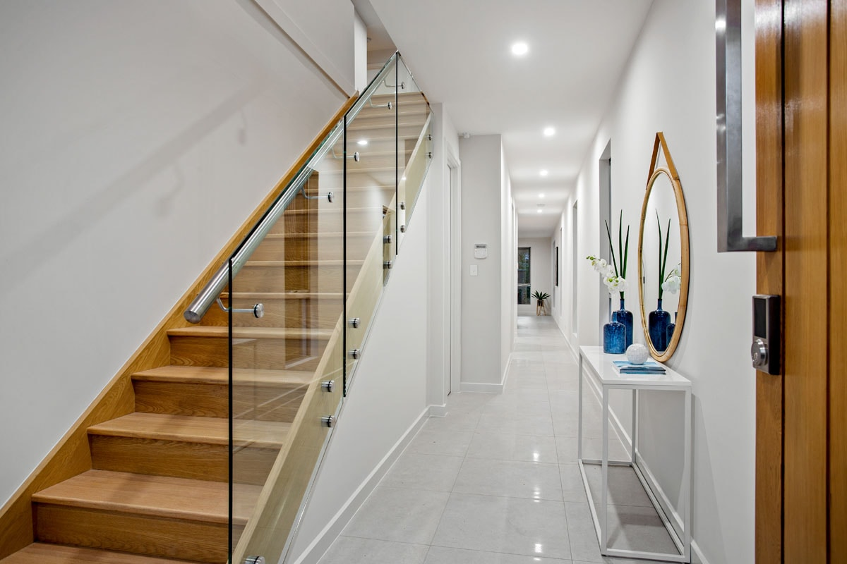 two storey new build home stairway and entrance hallway